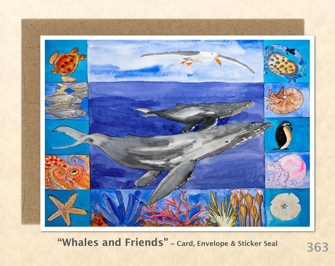 Whale Note Card, Whale Cards, Sea Life Cards, Blank Note Card, Art Cards, Greeting Cards