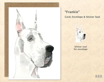 Great Dane Card, Dog Note Cards, Big Dogs, Cute Animal Cards, Fun Dog Cards, Blank Note Card, Art Cards, Greeting Cards, 5x7