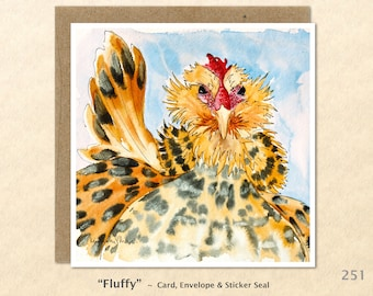 Chicken Note Card, Farm Cards, Chicken Cards, Farm Yard Animals, Blank Note Card, Art Cards, Greeting Cards