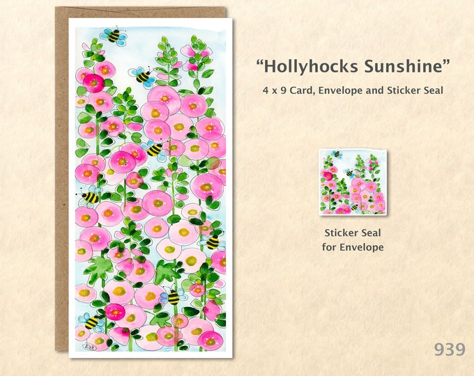 Hollyhocks Flower Note Card Floral Card Customizable Blank Note Card Watercolor Art Greeting Card