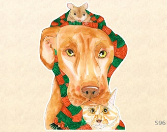 Dog, Cat and Mouse Sharing a Christmas Scarf Sticker Mistletoe Gift Wrapping Decoration Scrapbook Stickers Watercolor Sticker