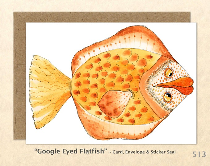 Fantasy Fish Note Card, Fish Cards, Silly Fish Cards, Fun Animals, Blank Note Card, Art Cards, Greeting Cards