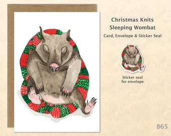 Christmas Card Sleeping Wombat on a Christmas Cushion Holiday Note Card Blank Watercolor Card Art Card Note Card