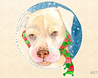 Dog Dressed for Christms Sticker Gift Wrapping Sticker Laptop Stickers Water Bottle Stickers Scrapbook Stickers
