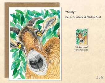 Goat  Note Card, Goat Cards, Farm Cards, Farm Animal Cards, Blank Note Card, Art Cards, Greeting Cards