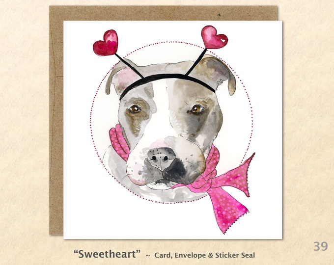 Pit bull with hearts note card Note Card, Dog Cards, Valentine Cards, Blank Note Card, Art Cards, Greeting Cards, Square