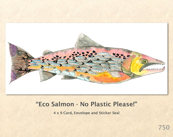 Eco Salmon Note Card Fish Card Wildlife Cards Blank Note Card Art Cards Greeting Cards Watercolor Art