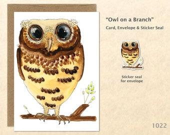 Owl on a Branch Note Card Owl Card Bird Card Cute Animal Card Customizable Blank Note Card Watercolor Art Card Greeting Card