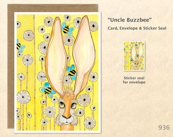 Rabbit Flowers and Bees Note Card Easter Card Bunny Card Customizable Blank Note Card Cute Cards Watercolor Art Card Greeting Card
