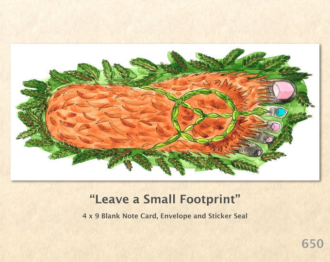 Big Foot with Peace Sign Sandal Note Card, Eco Cards, Fantasy Cards, Blank Note Card, Art Cards, Greeting Cards