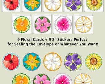 "Wild Ones Special - 9 Floral Cards with Matching 2"" Stickers, Flower Cards, Flower Stickers"