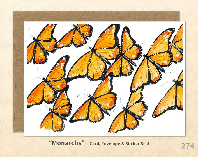 Monarch Butterfly Note Card, Gardening Cards, Garden Cards, Bug Cards, Blank Note Card, Art Cards, Greeting Cards