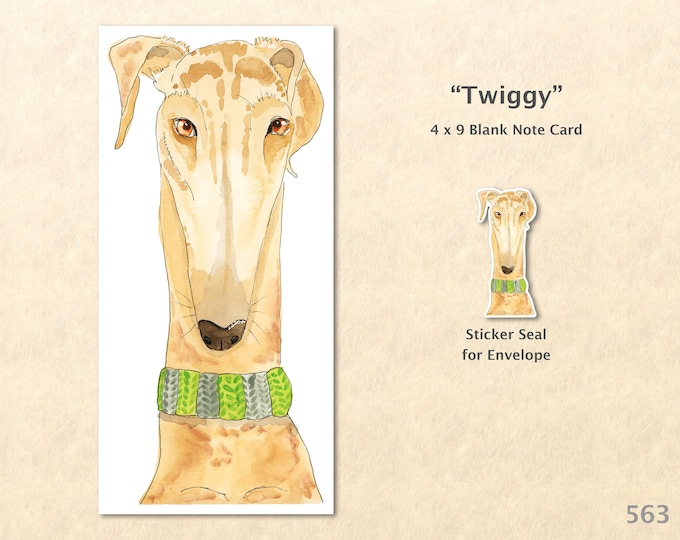 Whippet Dog Note Card Customizable Blank Note Card Watercolor Art Card Greeting Card