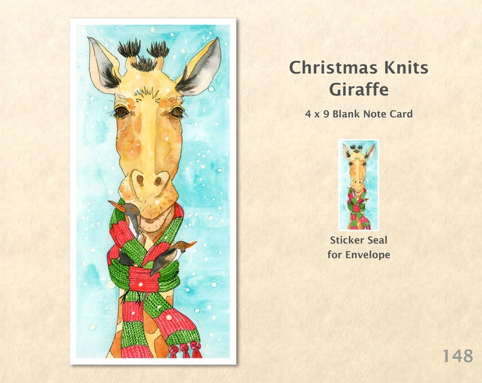 Christmas Card Giraffe in a Christmas Scarf Holiday Note Card Blank Watercolor Card Art Card Note Card