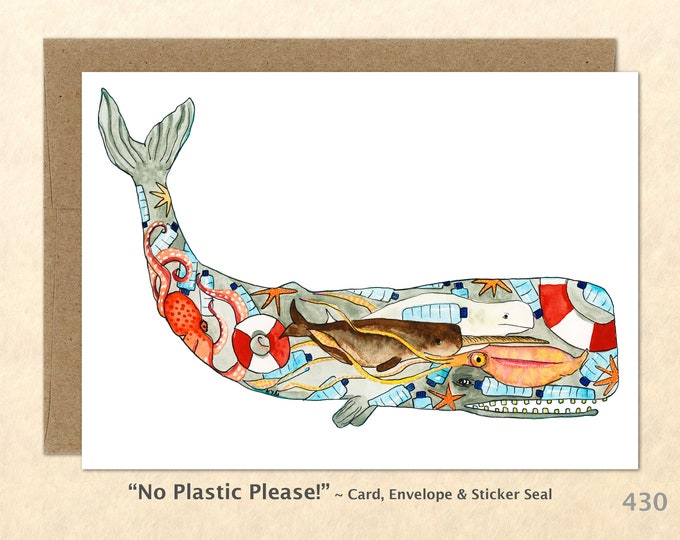Eco Whale Note Card, Whale Cards, Eco Cards, Blank Note Card, Art Cards, Greeting Cards