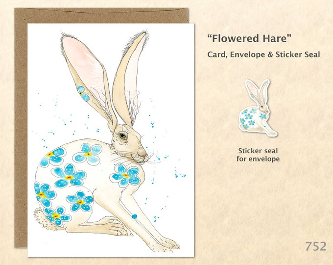 Flowered Hare Note Card Rabbit and Blue Flowers Easter Bunny Card Customizable Blank Card Cute Cards Watercolor Art Greeting Card