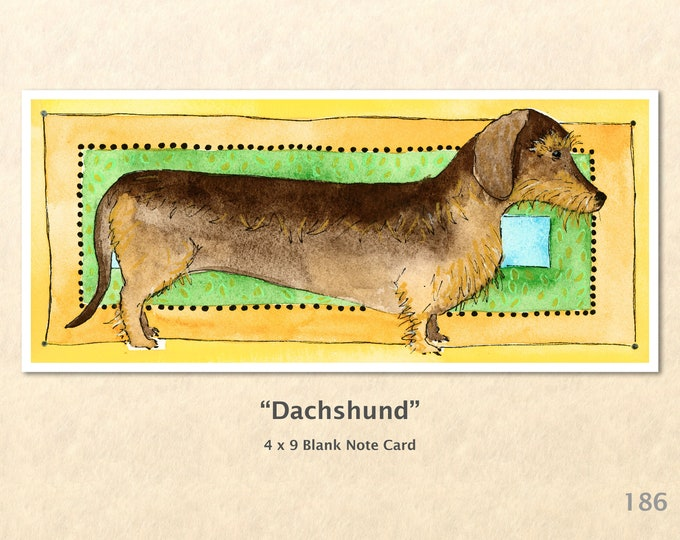 Dachshund Dog Note Card, Dog Cards, Blank Note Card, Art Cards, Greeting Cards