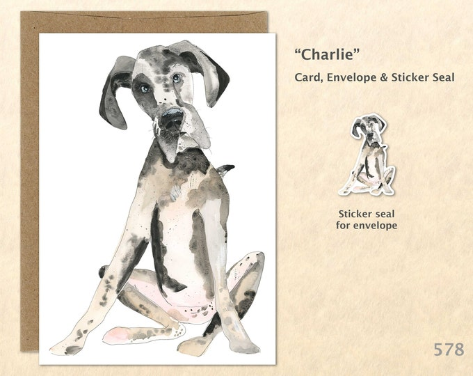 Great Dane Note Card, Dog Note Cards, Big Dogs, Cute Animal Cards, Fun Dog Cards, Blank Note Card, Art Cards, Greeting Cards, 5x7