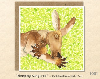 Sleeping Kangaroo Note Card Australia Customizable Blank Note Card Watercolor Art Greeting Cards