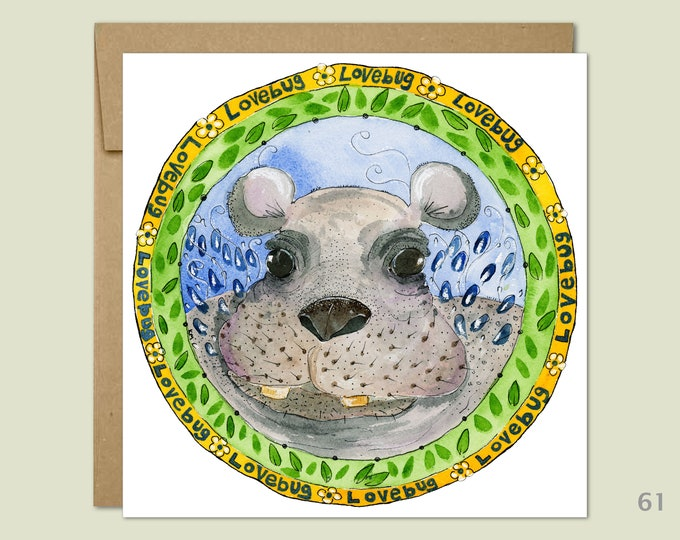 Baby Hippo Note Card, Baby Animal Cards, Cute Animal Cards, Baby Gift, Blank Note Card, Art Cards, Greeting Cards