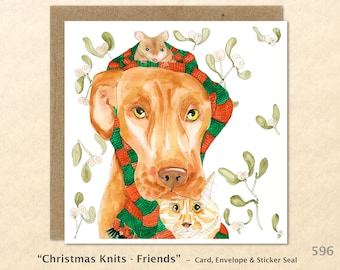 Dog, Cat & Mouse Sharing a Christmas Scarf Mistletoe Card Friendship Blank Note Card Art Card Greeting Card Watercolor Card Holiday Card