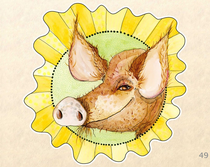 Pig Stickers, Cute Animal Stickers, Sun Stickers, Farm Animal Stickers, Laptop Stickers, Water Bottle Stickers, Scrapbooking Stickers