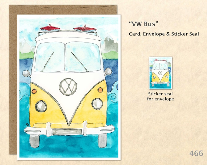 VW Bus Card, Volkswagen Cards, VW Microbus, Volkswagen Type 2, Blank Note Card, Art Cards, Greeting Cards