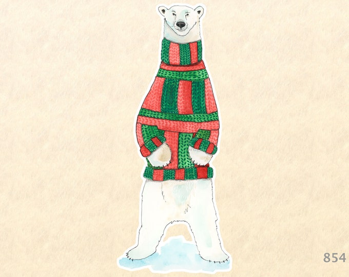 Polar Bear in a Christmas Turtleneck Sweater Sticker Gift Wrapping Sticker Laptop Stickers Water Bottle Stickers Scrapbook Stickers