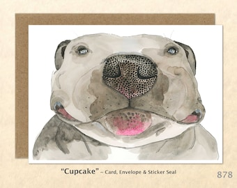 Happy Bulldog Note Card Dog Cards Cute Dog Cards Blank Note Card Art Cards Greeting Cards Watercolor Cards