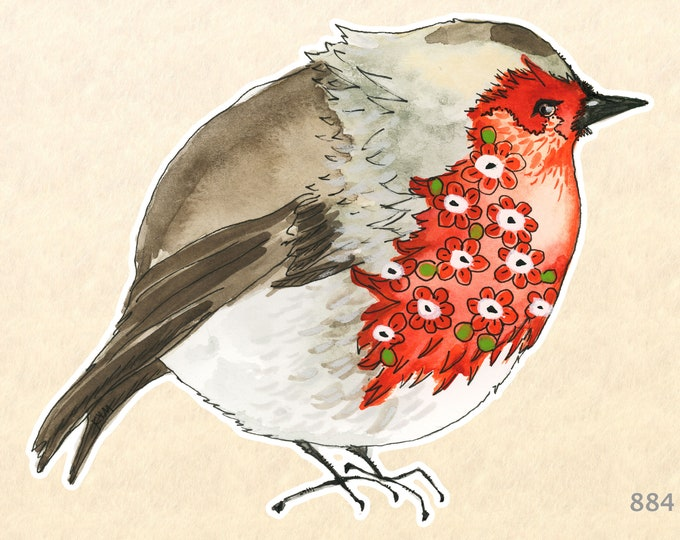 Flowered Finch Sticker Bird Sticker Floral Sticker Water Bottle Sticker Scrapbooking Sticker Macbook Decal Watercolor