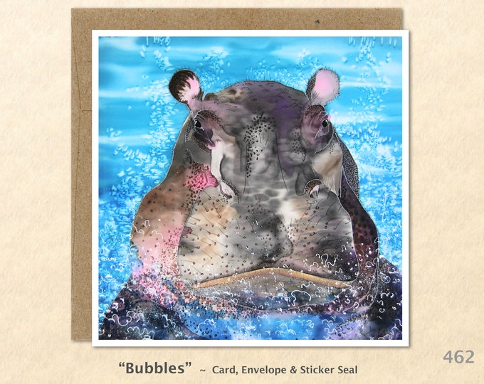 Hippo Note Card, Hippo Cards, Hippopotamus Cards, African Animal Cards, Blank Note Card, Art Cards, Greeting Cards