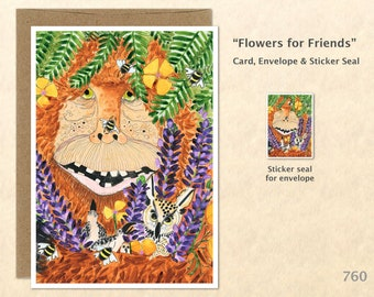 Bigfoot Card Flower Card Lupine Card Bigfoot and Friends Card Friendship Card Blank Note Card Art Cards Greeting Cards