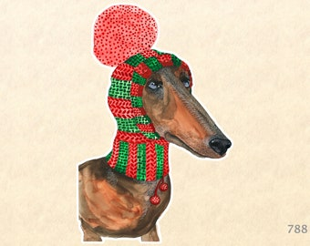 Dachshund Dressed for Christmas Sticker Dog Sticker Gift Wrapping Sticker Laptop Stickers Water Bottle Stickers Scrapbook Stickers