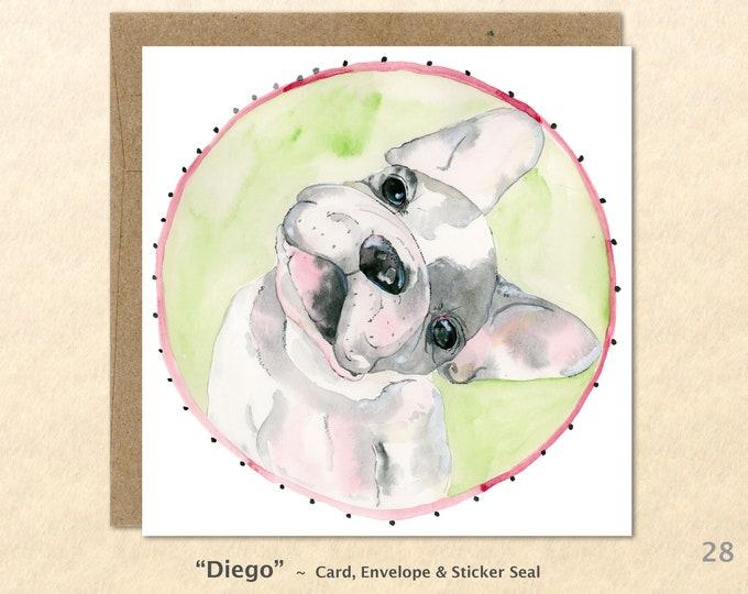 French Bulldog Card Dog Card French Bulldog Note Card Cute Dog Card Blank Note Card Art Card Greeting Card