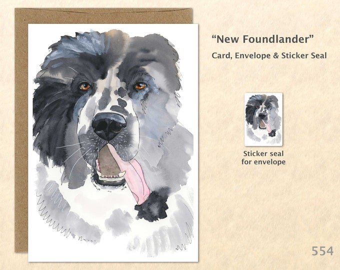 New Foundlander Note Card, Dog Cards, Blank Note Card, Art Cards, Greeting Cards