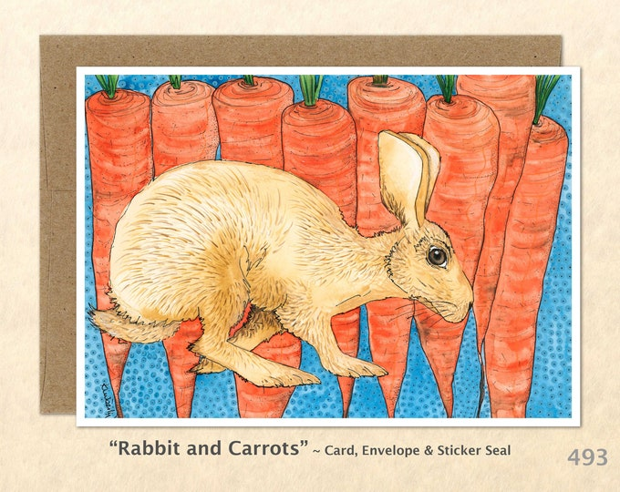 Rabbit and Carrots Note Card, Rabbit Cards, Bunny Cards, Farm Cards, Blank Note Card, Wildlife Cards, Cute Cards Art Cards, Greeting Cards