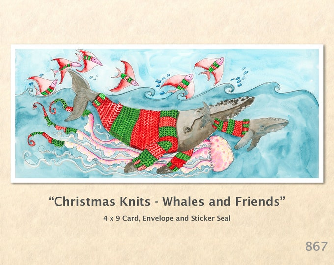 Christmas Card Whales and Friends Dressed for Christmas Note Card Blank Watercolor Card Art Card Note Card