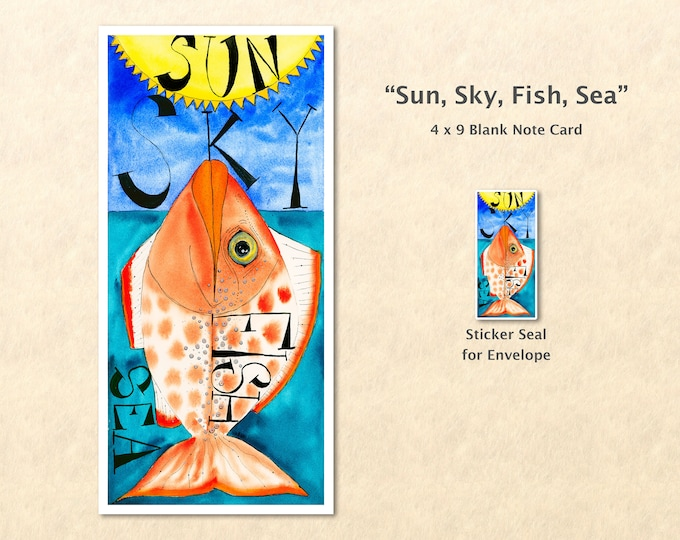 Sun, Sky, Fish, Sea Note Card, Fish Cards, Tropical Cards, Blank Note Card, Art Cards, Greeting Cards