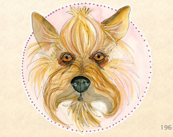 Yorkshire Terrier Dog Sticker Fun Animal Stickers Laptop Stickers Water Bottle Scrapbook Stickers Macbook Decal Watercolor Sticker