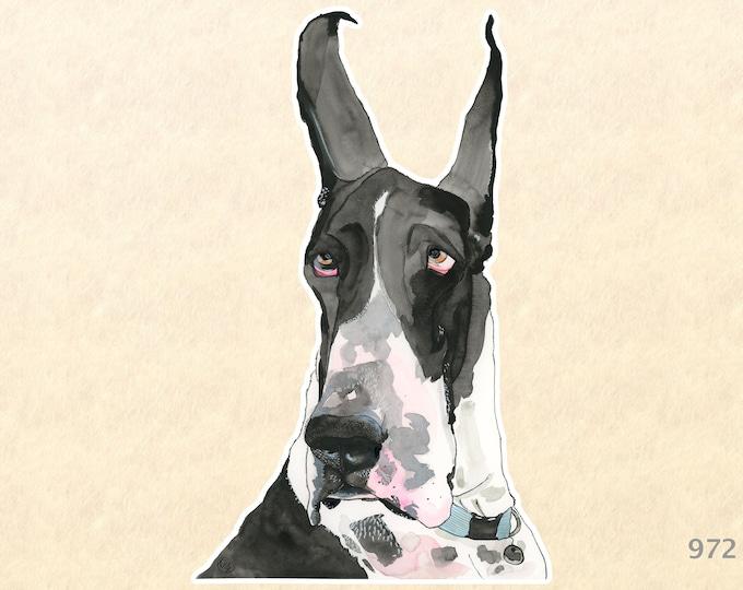 Great Dane Dog Sticker Cute Animal Sticker Watercolor Art Water Bottle Sticker Scrapbook Sticker Macbook Pro  iPhone Decal