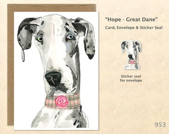 Great Dane Note Card Dog Card Customizable Blank Greeting Card Watercolor Art Greeting Card