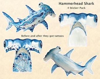 Hammerhead Shark Stickers, Fish Stickers, Tattoo Stickers, Sea Life Stickers, Water Bottle Stickers, Scrapbook Stickers