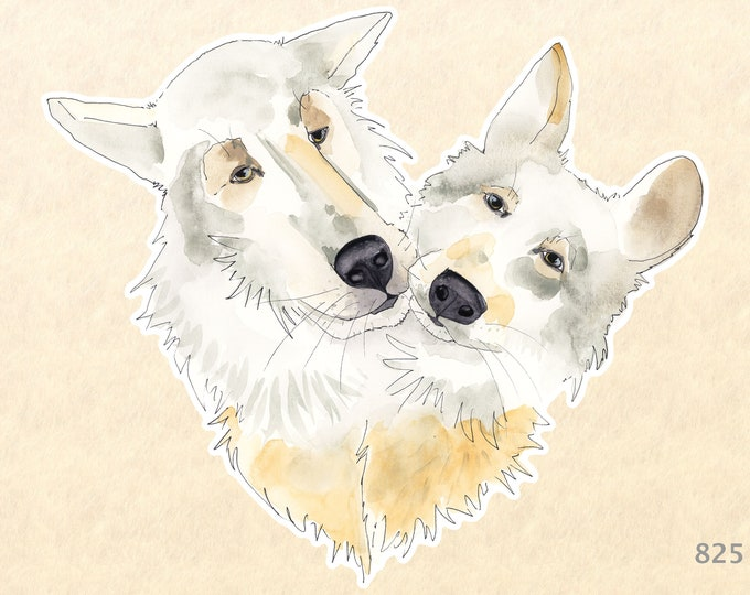 Two Wolves forming a Heart Sticker Lifemates Friendship Love Valentine Watercolor Art Sticker Water Bottle Sticker Scrapbook Stickers