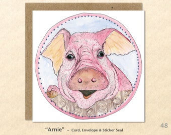 Pig Note Card Hog Card Farm Cards Farm Yard Animals Blank Note Card Art Cards Greeting Cards Watercolor Card