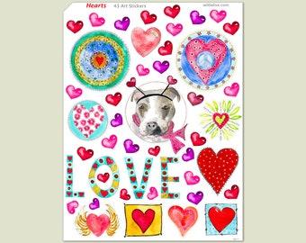 Heart Sticker Sheet, 43 Stickers, Valentine Stickers, Love Stickers, Friendship Stickers, Art Stickers