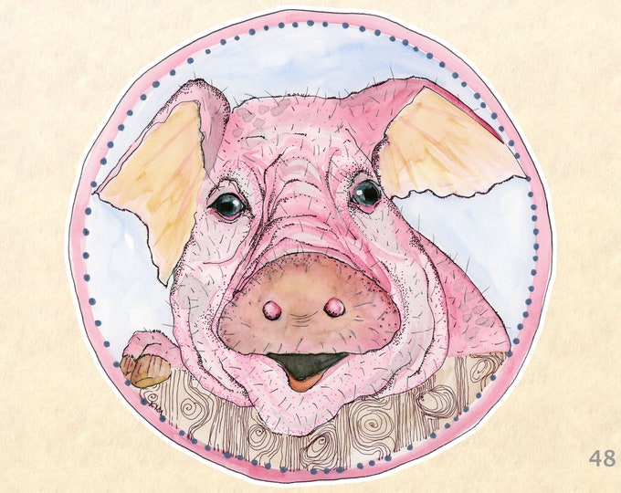 Pig Stickers, Farm Animal Stickers, Cute Animal Stickers, Fun Animal Stickers, Water Bottle, Scrapbook Stickers, Macbook Decal