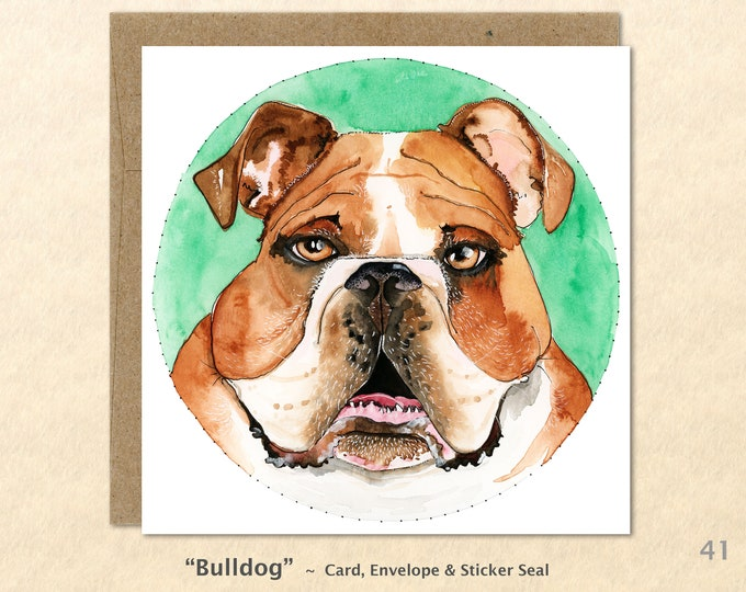 Bull Dog Cards, Dog Cards, Dog Note Cards, Fun Dog Cards, Cute Dog Cards, Blank Note Cards, Art Cards, Greeting Cards, Square