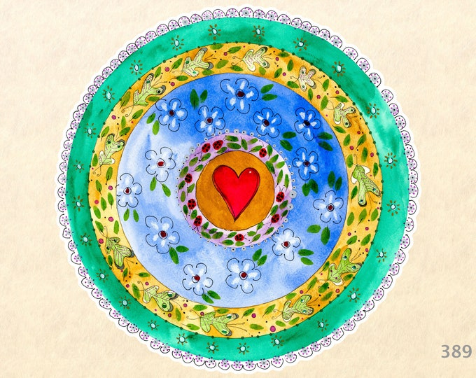 Heart and Flowers Mandala Sticker, Love Stickers, Valentine Stickers, Water Bottle Stickers, Decorative Stickers, Scrapbook Stickers