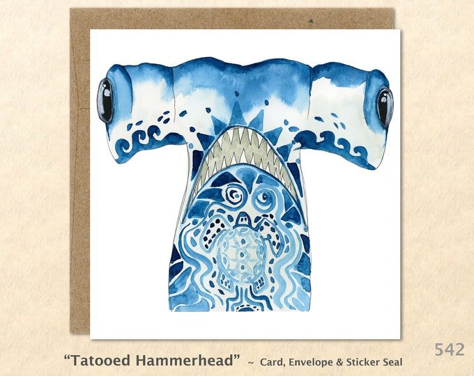 Tattooed Hammerhead Shark Note Card, Shark Cards, Hammerhead Shark Cards, Blank Note Card, Art Cards, Greeting Cards