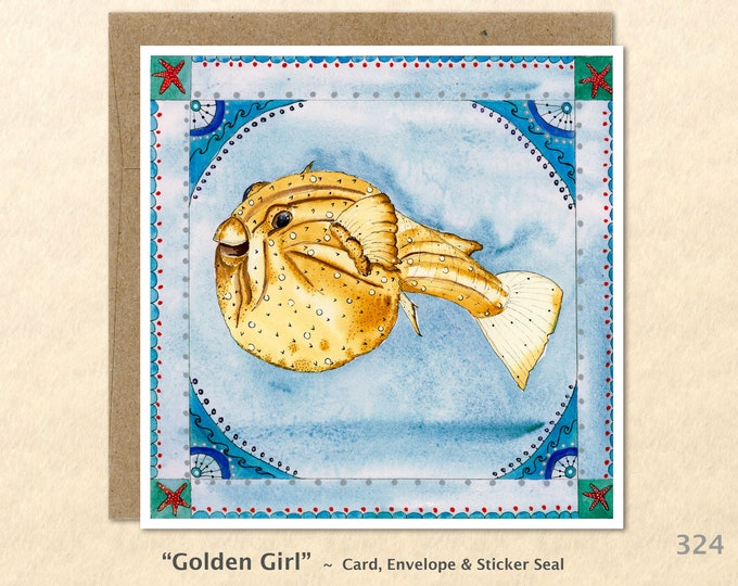Puffer Fish Note Card Beach Card Nautical Card Sea Life Cards Blank Note Card Art Card Greeting Card